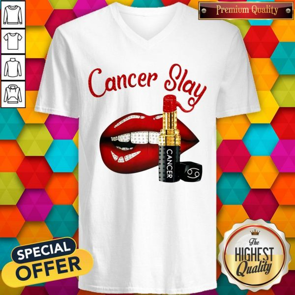 Nice Cancer Slay Lips V-neck