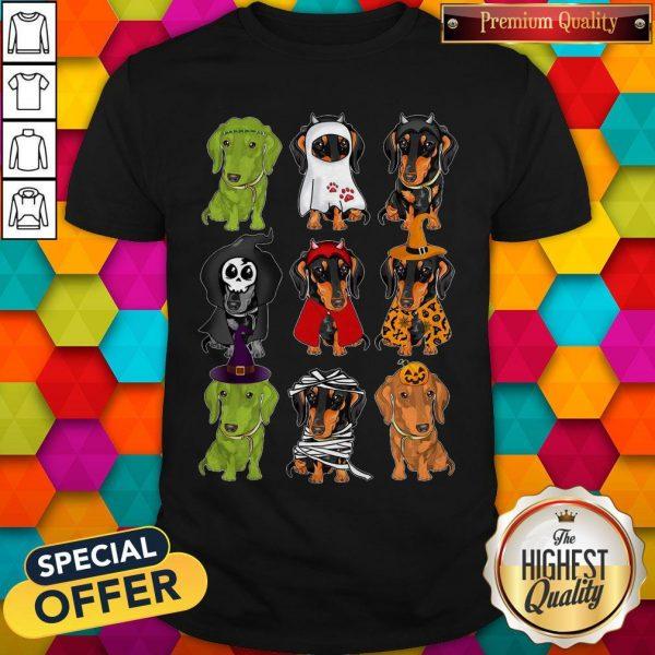 Nice Daschund Haloween Chacracters Shirt