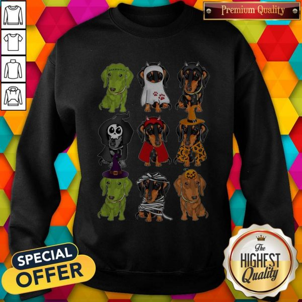 Nice Daschund Haloween Chacracters Sweatshirt