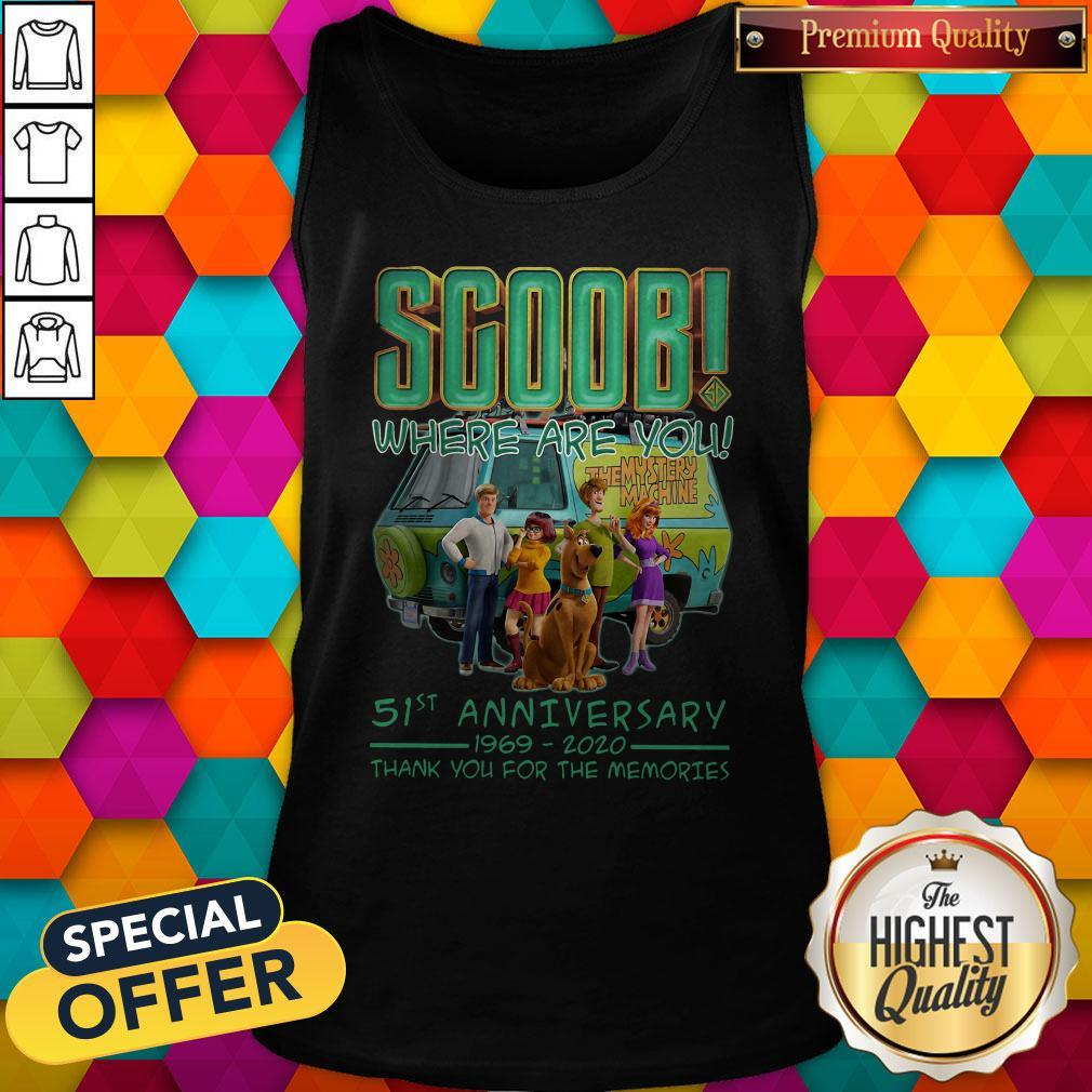 Scoob Where Are You 51st Anniversary 1969-2020 Thank You For The Memories Tank Top