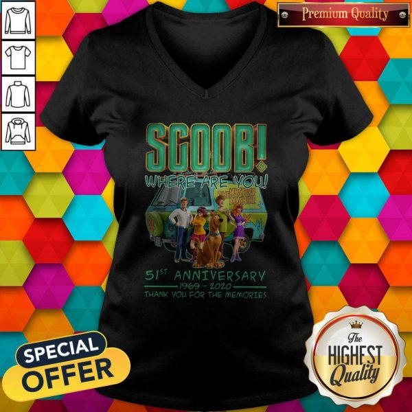Scoob Where Are You 51st Anniversary 1969-2020 Thank You For The Memories V-neck