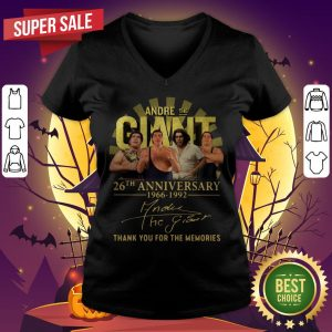 Andre The Giant 26th Anniversary 1966 1992 Signature Thank You For The Memories V-neck