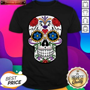 Day Of The Dead Purple Floral Sugar Skull T-Shirt