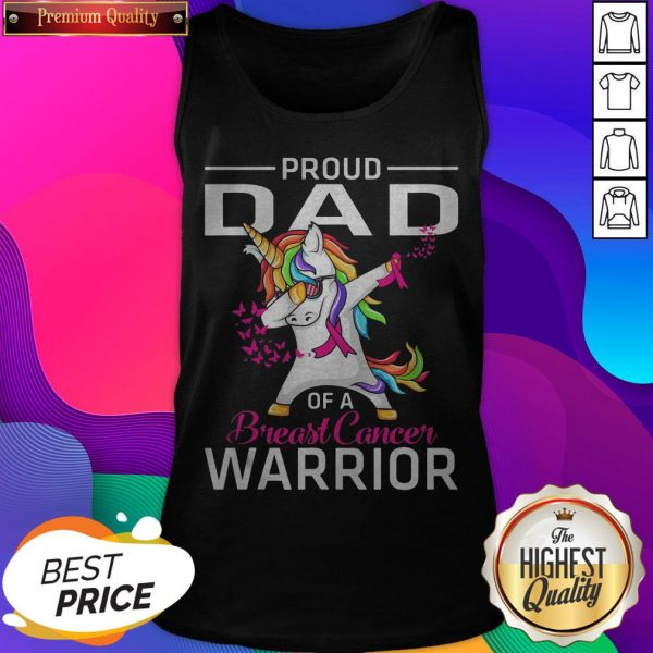 Proud DAD Of A Breast Cancer Warrior Awareness Tank Top