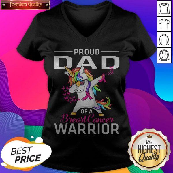 Proud DAD Of A Breast Cancer Warrior Awareness V-neck