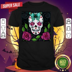 Skull With Teal Butterfly And Red Roses Day Of The Dead Shirt