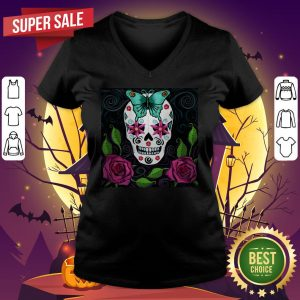 Skull With Teal Butterfly And Red Roses Day Of The Dead V-neck