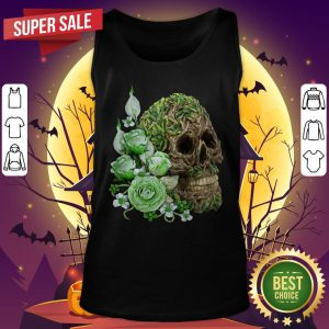 Unique Cool Tree Spirit Skull With Green Flowers Day Of The Dead Tank Top