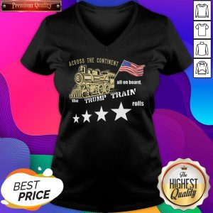 Across Continent All Aboard Trump Train Rolls 2020 American V-neck- Design By Sheenytee.com