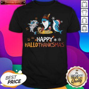 Baby Shark Halloween And Merry Christmas Happy Hallothanksmas Shirt - Design by Sheenytee.com