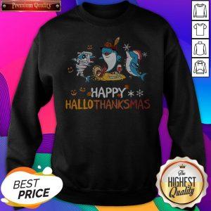 Baby Shark Halloween And Merry Christmas Happy Hallothanksmas SweatShirt - Design by Sheenytee.com
