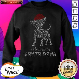 Chihuahua Santa I Believe In Santa Paws Diamond Christmas SweatShirt - Design by Sheenytee.com
