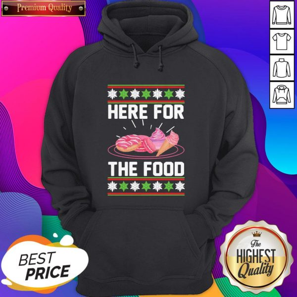 Here For The Food Donut Ice Cream Ugly Christmas ShirtHere For The Food Donut Ice Cream Ugly Christmas Hoodie- Design By Sheenytee.com