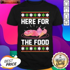 Here For The Food Donut Ice Cream Ugly Christmas ShirtHere For The Food Donut Ice Cream Ugly Christmas Shirt- Design By Sheenytee.com