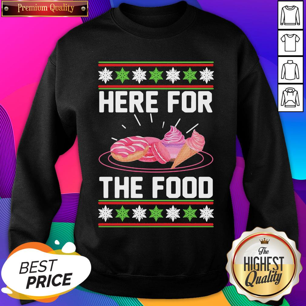 Here For The Food Donut Ice Cream Ugly Christmas ShirtHere For The Food Donut Ice Cream Ugly Christmas Sweatshirt- Design By Sheenytee.com