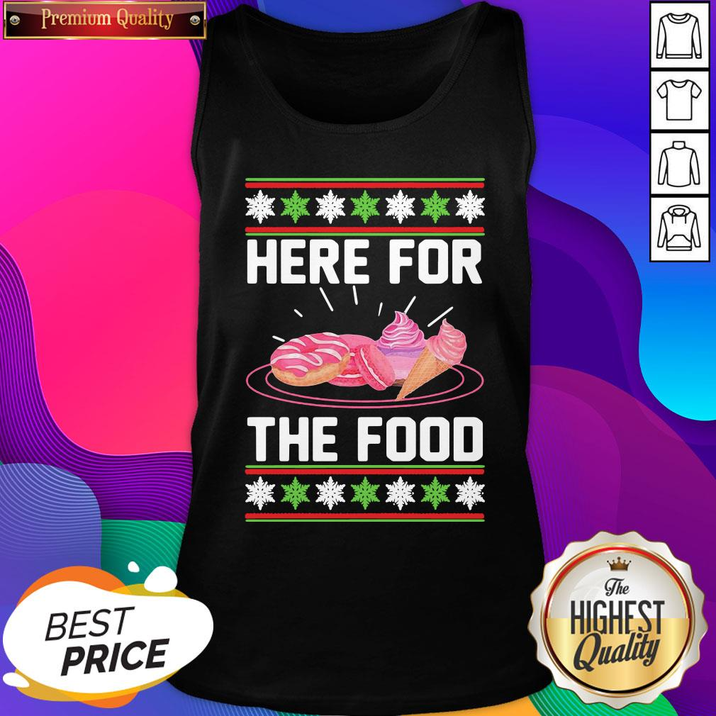 Here For The Food Donut Ice Cream Ugly Christmas ShirtHere For The Food Donut Ice Cream Ugly Christmas Tank Top- Design By Sheenytee.com