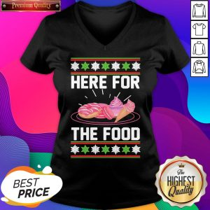 Here For The Food Donut Ice Cream Ugly Christmas ShirtHere For The Food Donut Ice Cream Ugly Christmas V-neck- Design By Sheenytee.com