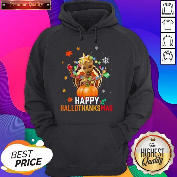 Baby Groot Halloween And Merry Christmas Happy Hallothanksmas Hoodie