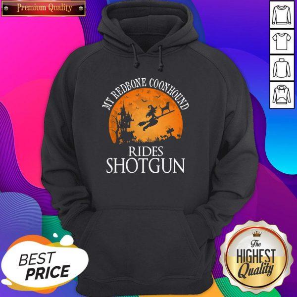 Redbone Coonhound Rides Shotgun Dog Lover Halloween Hoodie