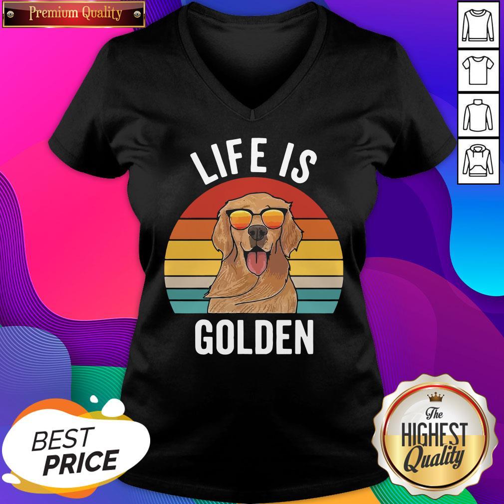 Life Is Golden Dog Lover Vintage V-neck- Design By Sheenytee.com