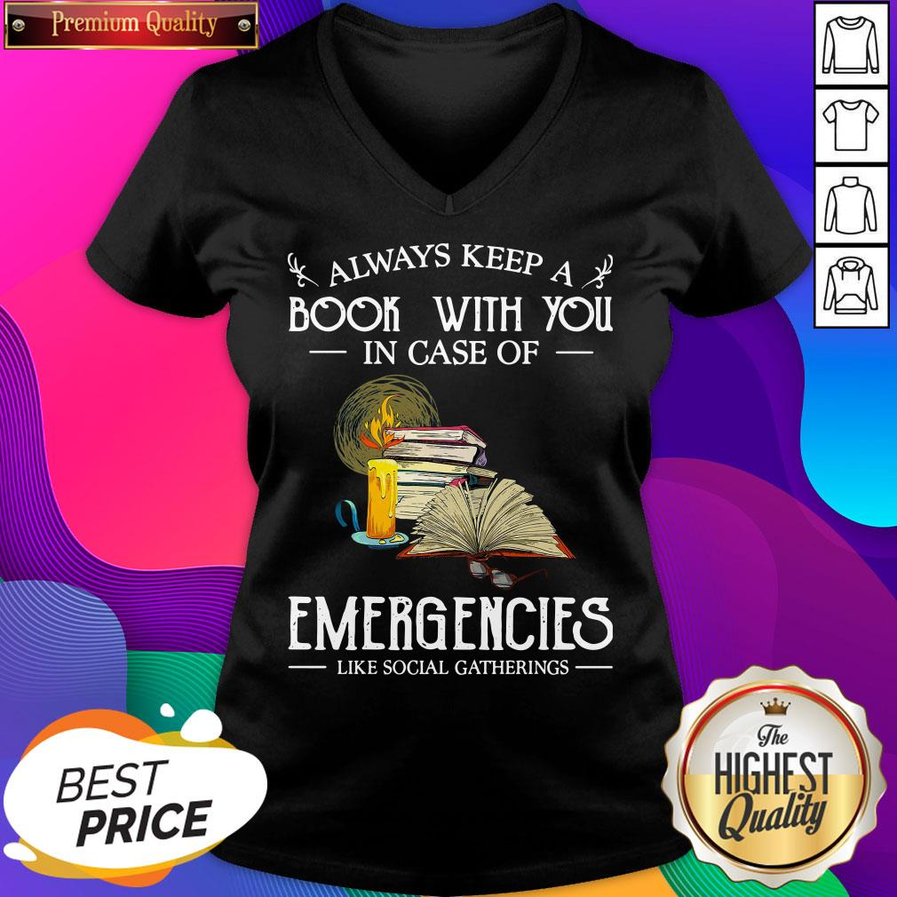 Official Always Keep A Book With You In Case Of Emergencies Like Social Gatherings V-neck- Design By Sheenytee.com