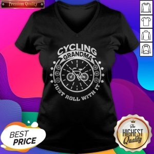 Premium Cycling Grandma Just Roll With It V-neck- Design by Sheenytee.com