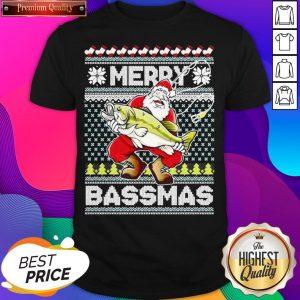 Merry Bassmas Fish Santa Ugly Christmas Shirt