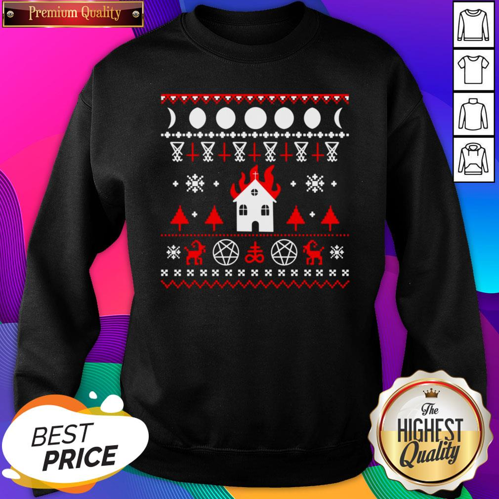 Awesome Burning Church Christmas SweatShirt