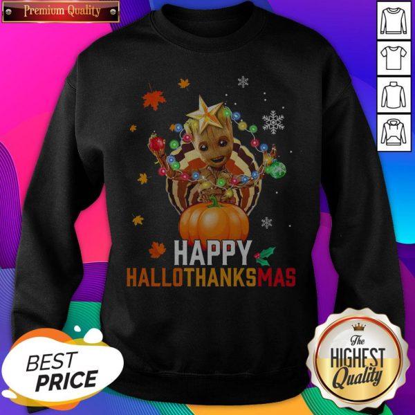 Baby Groot Halloween And Merry Christmas Happy Hallothanksmas SweatShirt