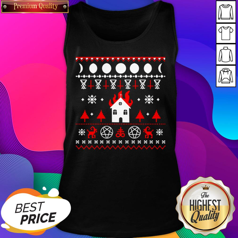 Awesome Burning Church Christmas Tank Top