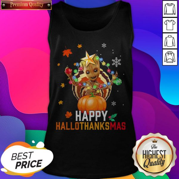 Baby Groot Halloween And Merry Christmas Happy Hallothanksmas Tank Top