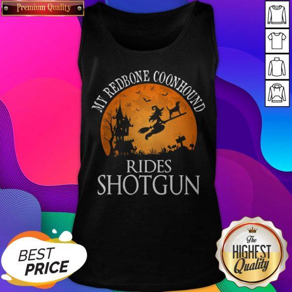 Redbone Coonhound Rides Shotgun Dog Lover Halloween Tank Top