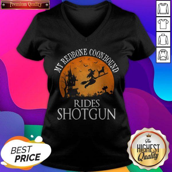 Redbone Coonhound Rides Shotgun Dog Lover Halloween V-neck