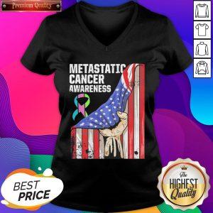Metastatic Breast Cancer Awareness Practicing Us Warrior American Flag V-neck