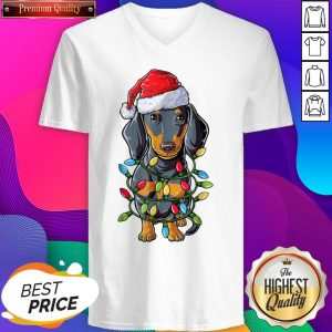 Dachshund Santa Light Christmas Women's V-neck T-Shirt- Design By Sheenytee.com