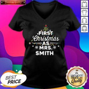 First Christmas As Mrs. Johnson Tree Light Women's V-neck T-Shirt- Design By Sheenytee.com