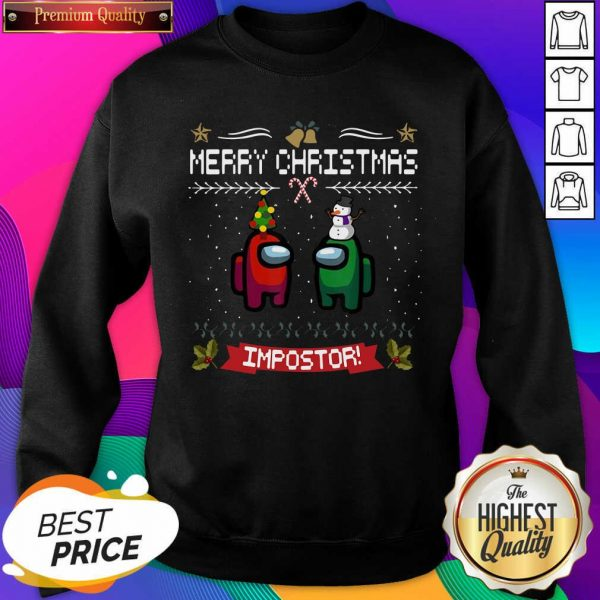 Impostor Imposter Among Game Us Sus Merry Christmas Sweatshirt- Design By Sheenytee.com