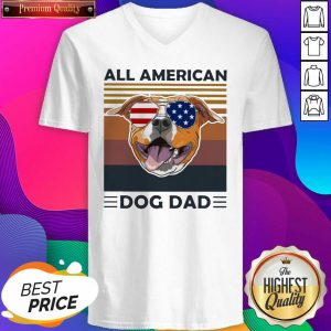 All American Pug Dog Dad Vintage V-neck- Design By Sheenytee.com