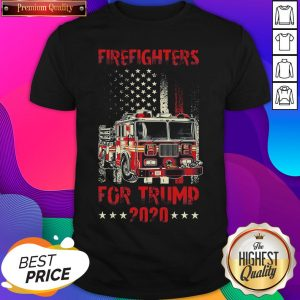 Hot Firefighters For Trump 2020 Fire Truck American Flag Shirt- Design By Sheenytee.com