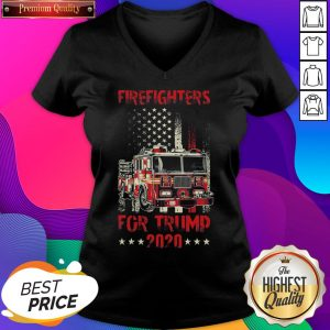 Hot Firefighters For Trump 2020 Fire Truck American Flag V-neck- Design By Sheenytee.com
