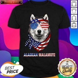Alaskan Malamute Dog American Flag Sunglasses Ribbon Shirt- Design By Sheenytee.com