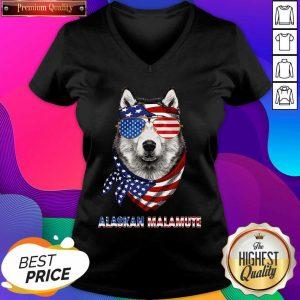 Alaskan Malamute Dog American Flag Sunglasses Ribbon V-neck- Design By Sheenytee.com