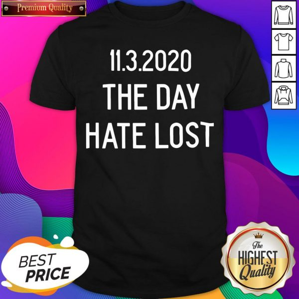 Official 11.3.2020 The Day Hate Lost Shirt- Design By Sheenytee.com