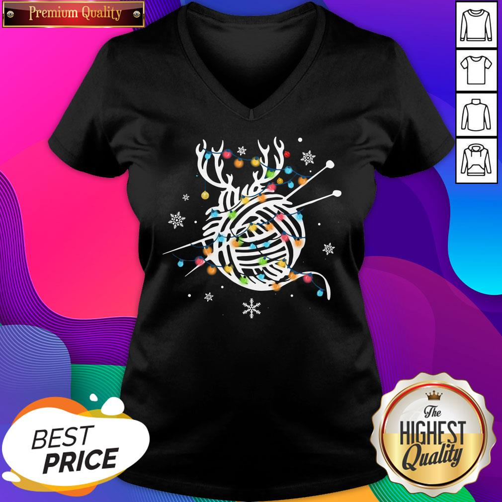 Official Crochet And Knitting Lighting Yarn Christmas Women's V-neck T-Shirt- Design By Sheenytee.com