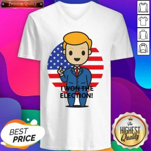 Official I Won The Election Trump To The World American Flag V-neck- Design By Sheenytee.com