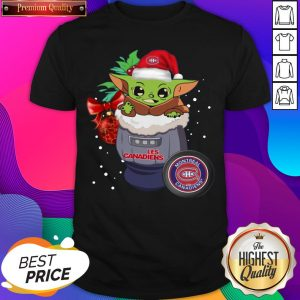 Official Montreal Canadiens Christmas Baby Yoda Star Wars Funny Happy NHL T-Shirt- Design By Sheenytee.com
