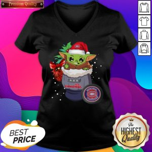 Official Montreal Canadiens Christmas Baby Yoda Star Wars Funny Happy NHL V-neck- Design By Sheenytee.com