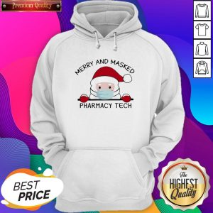 Santa Face Mask Merry And Masked Pharmacy Tech Christmas Hoodie- Design By Sheenytee.com