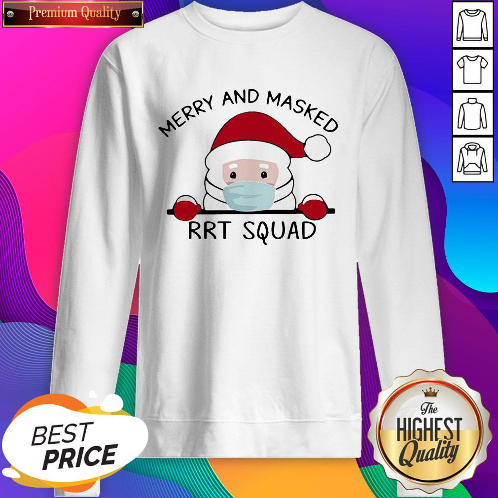 Santa Face Mask Merry And Masked Rrt Squad Christmas Sweatshirt- Design By Sheenytee.com