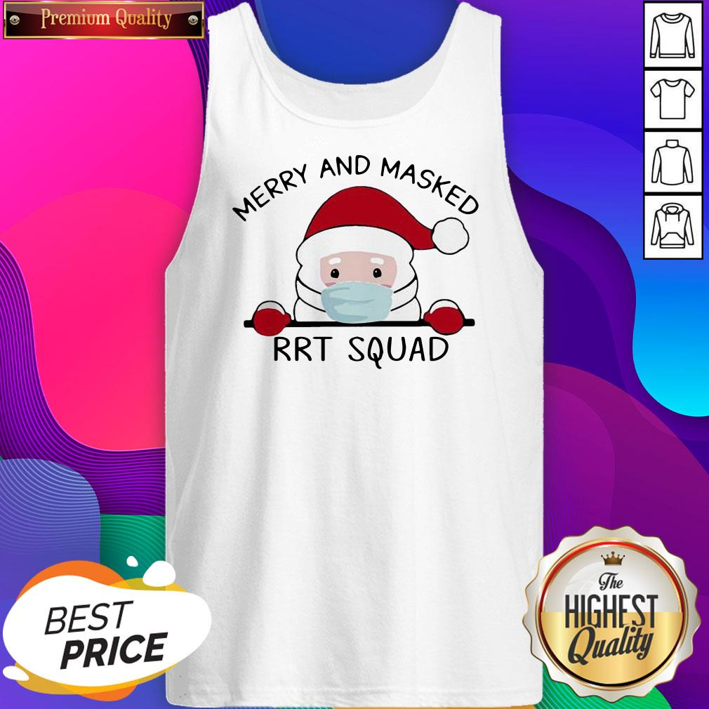 Santa Face Mask Merry And Masked Rrt Squad Christmas Tank Top- Design By Sheenytee.com